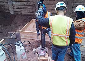 Contractors Set Up Concrete Forms in NYC job site