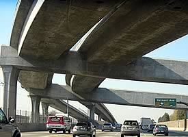 Structural Concrete application on Roadway Overpass